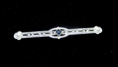 Art Deco 10K GOLD BAR PIN 10k White Gold Lacy Filigree Lace Bar Pin