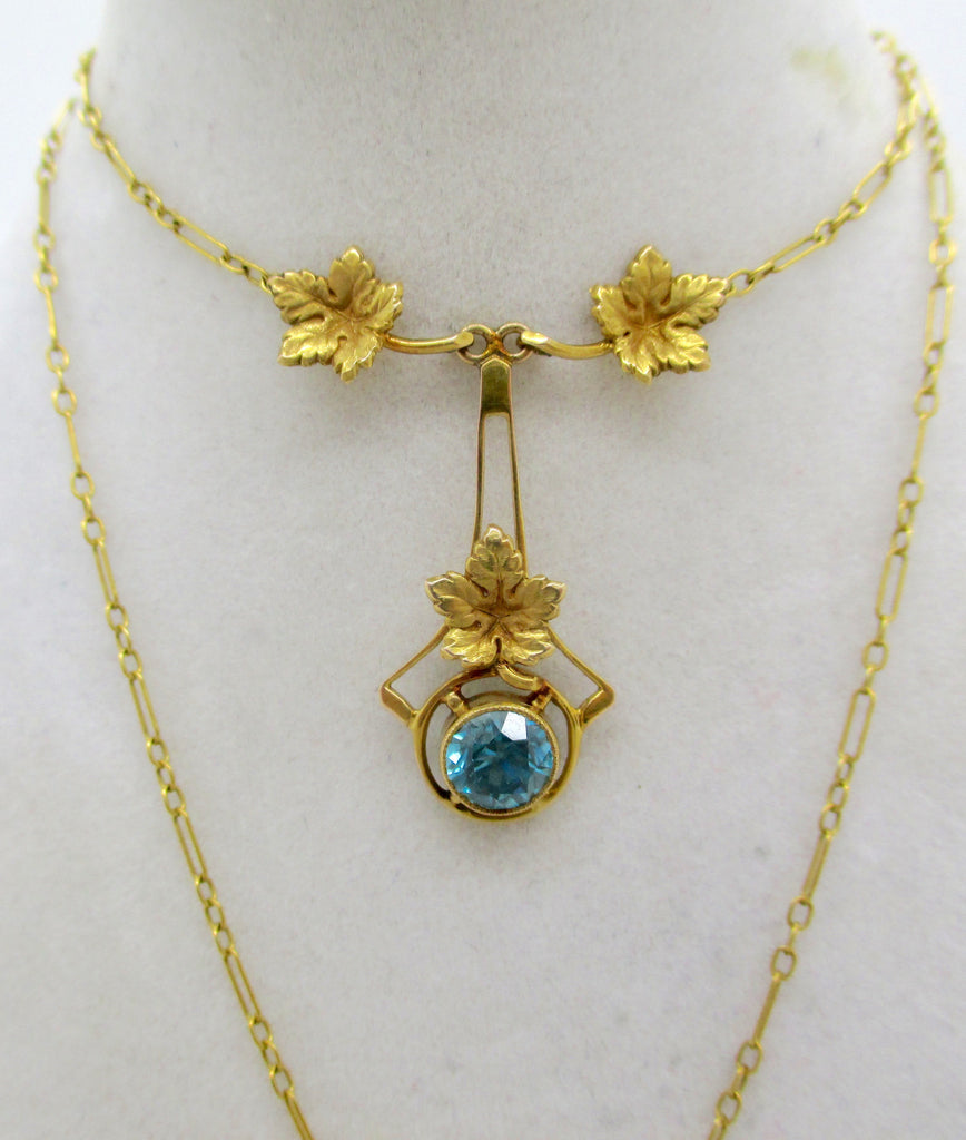Antique Victorian 14K Gold Blue Zircon Lariat Style Necklace