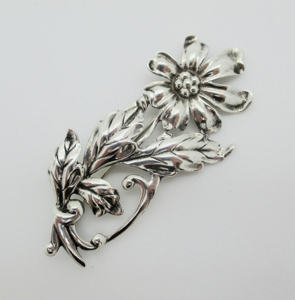Danecraft Sterling Silver Art Nouveau Chrysanthemum Flower Brooch Pin