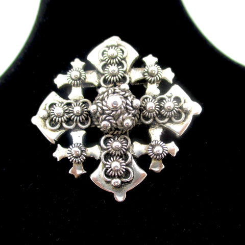 Vintage 900 Silver Jerusalem Maltese Cross Pin Brooch