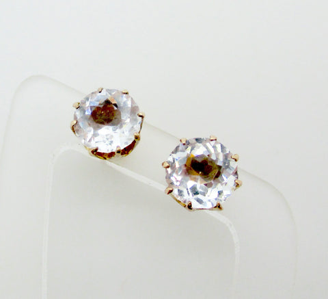 Antique Victorian 10k Gold Clear Facet Cut Crystal Stud Earrings 2 ct. tdw