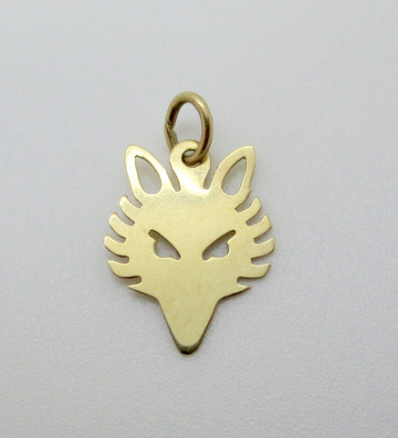 14K GOLD FOX HEAD Charm Pendant Equestrian Fox Hunting Charm