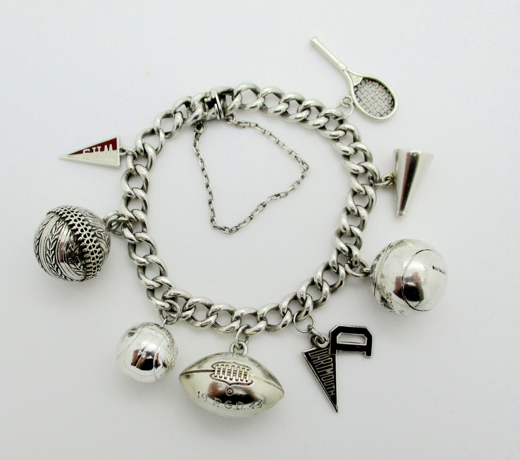 Vintage DARTMOUTH COLLEGE Sterling Silver Sports Charms & School Pennants Charm Bracelet