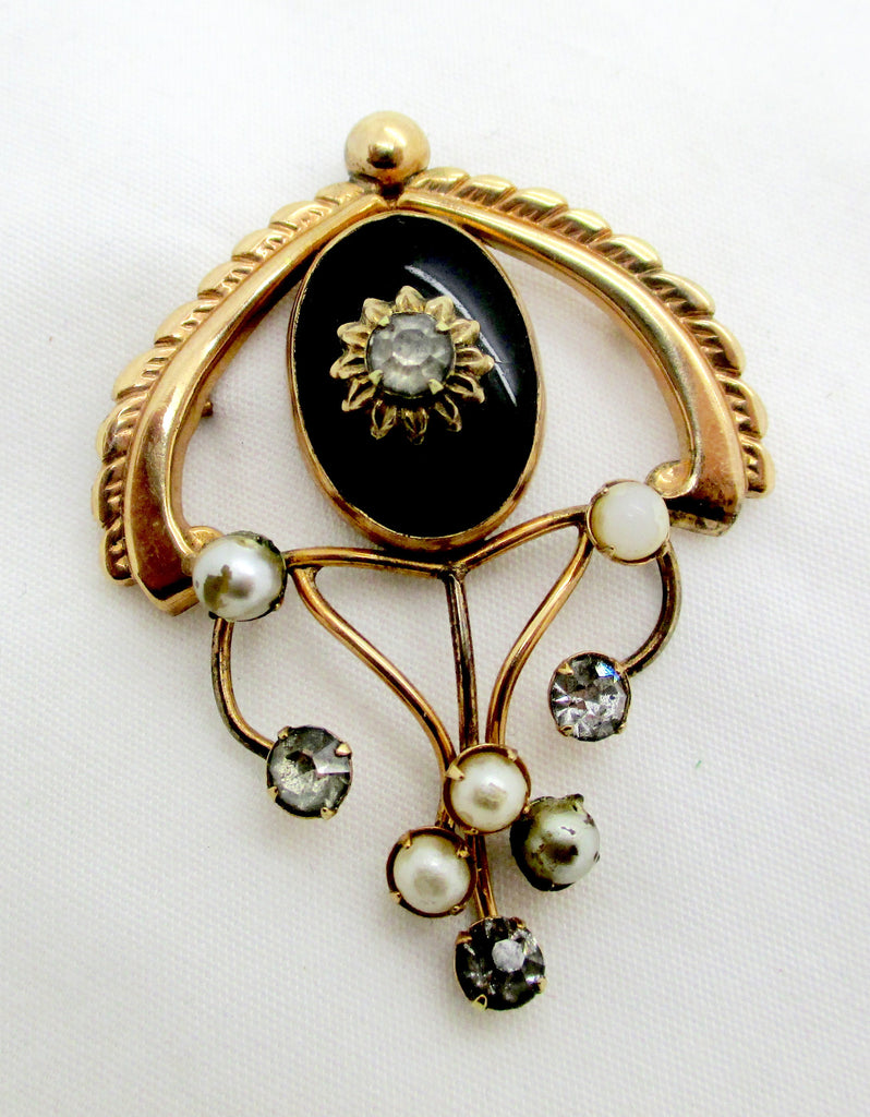 Antique 12k GF Rhinestone Faux Pearls Pin Pendant Providence Stock Company Art Deco Era