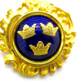 Sporrong & Co. Tre Kronor Three Crowns Gold Royal Blue Enamel Brooch Pin Pendant