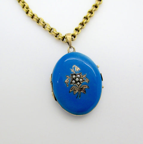 Antique Victorian 14k Gold Blue Enamel Seed Pearls Photo Locket Pendant