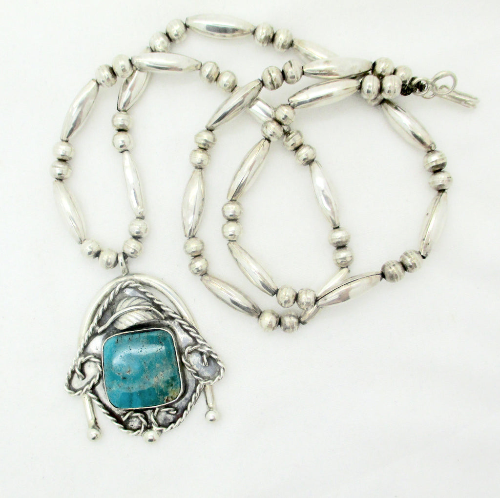 Navajo STERLING TURQUOISE PENDANT NECKLACE Sterling Silver Turquoise Stone Pendant Necklace