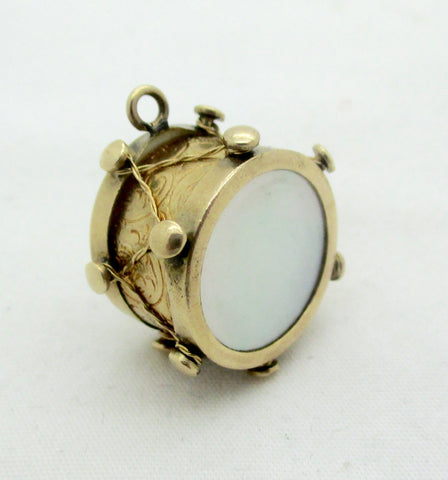 Vintage 14K Gold Mother of Pearl Figural Drum Charm Pendant