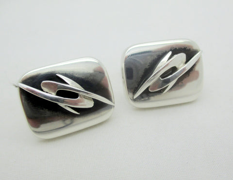 Vintage Enrique Ledesma Taxco Mexico Sterling Silver Modernist Cuff Links