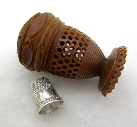 Antique Victorian Carved Tagua Nut Thimble Spool Holder Ketcham McDougall Sterling Silver Timble