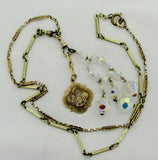 Antique ST. ANNE DE BEAUPRE' MEDAL Gold Watch Chain Necklace Aurora Borealis Beads