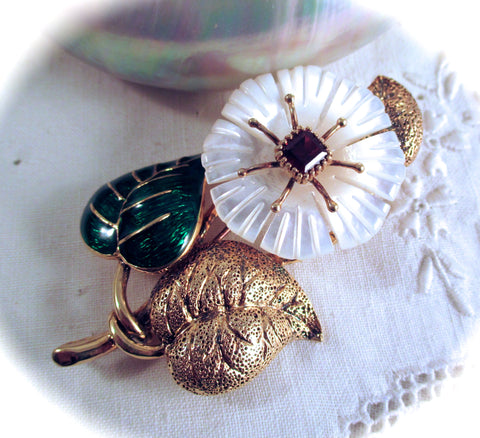 MMA Gilt Sterling Silver Brooch Pin Pendant Enamel Garnet & Carved MOP Shell Flower