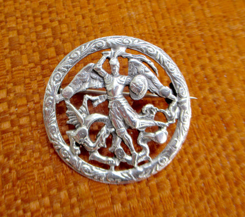 European 800 Silver St. George Slaying The Dragon Pin Brooch Peruzzi Coppini Style