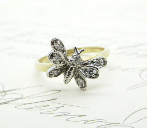 Antique 10K GOLD DIAMOND RING Bee Bug Butterfly 10K Diamond Ring Sz 6.25