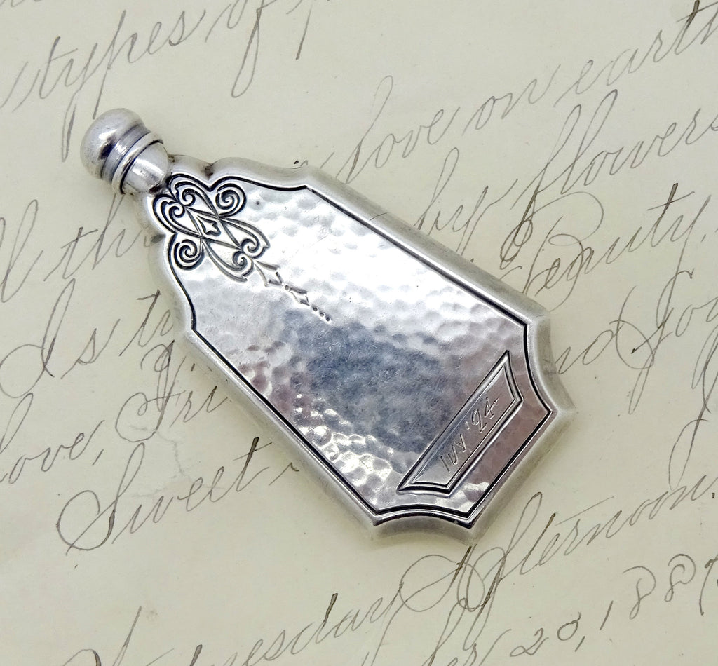 Art Deco Sterling Silver Hand Hammered Mini Flask Style Perfume Bottle