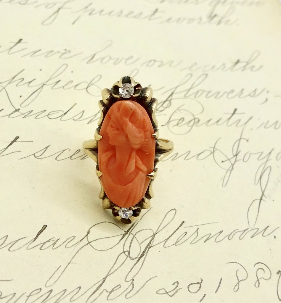 Antique 10K GOLD CORAL CAMEO RING Diamond Carved Coral Cameo Ring Size 4.75