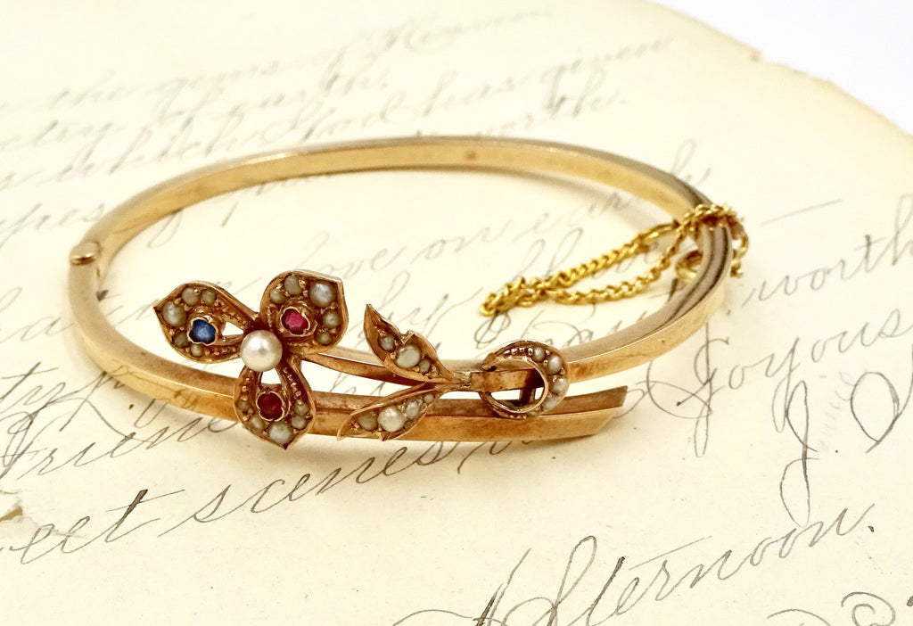 Antique 10K Rose Gold Hinged Bangle Bracelet Seed Pearls Ruby Sapphire