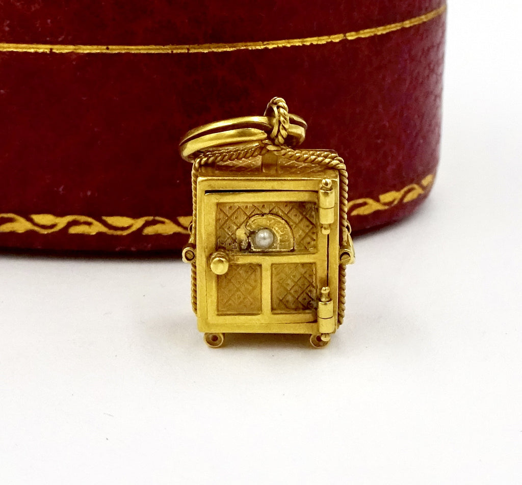 Antique 14k Gold Locket Pendant Fire Proof Bank Vault Safe Diamonds Rubies Sapphires