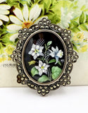 Antique Sterling Silver Marcasite Hand Painted Columbine Flower Pendant Pin