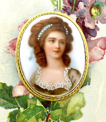 Antique 10K Gold Framed Painted Porcelain Portrait Pendant Pin Brooch