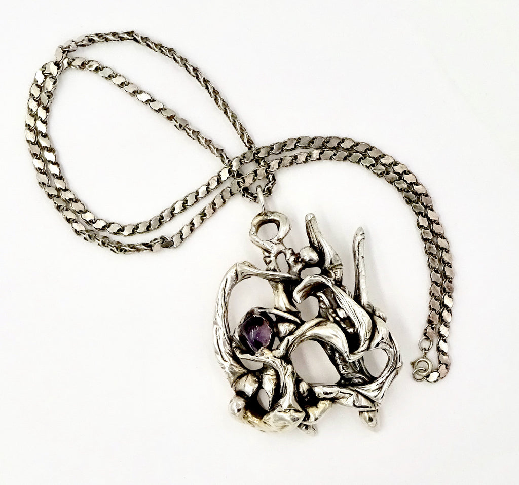 Brutalist Modernist Sterling Silver Amethyst Abstract Pendant Necklace