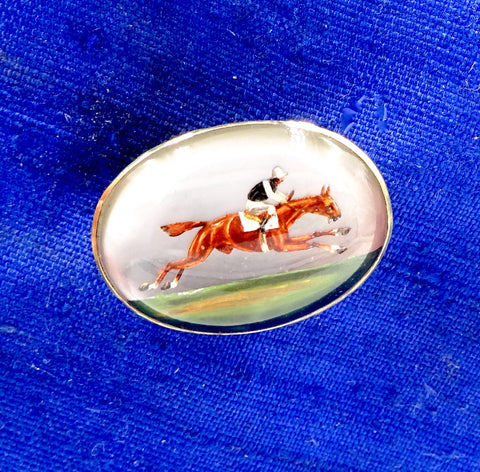 Antique 18K GOLD ESSEX CRYSTAL Reverse Painted Race Horse Pin Pendant