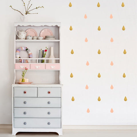 Pöm Le Bonhomme Drops Wall Stickers - Pink & Gold