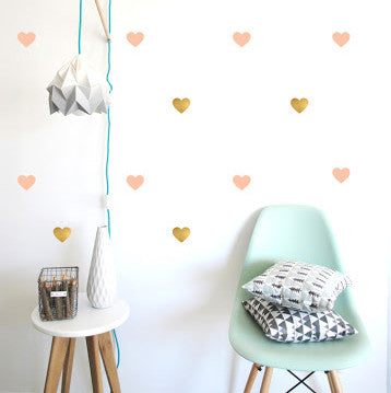 Pöm Le Bonhomme Hearts Wall Stickers - Pink & Gold
