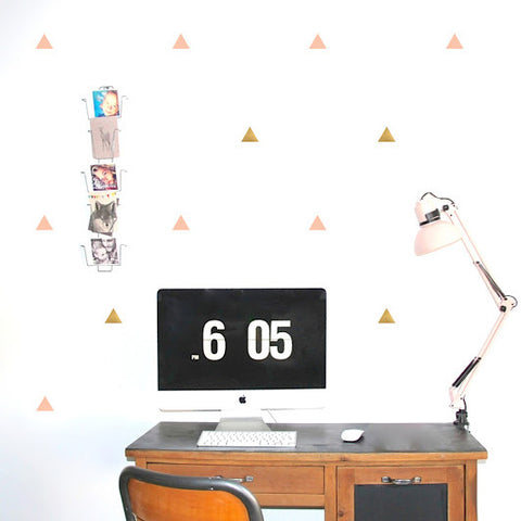 Pöm le Bonhomme Triangles Wall Stickers - Pink & Gold