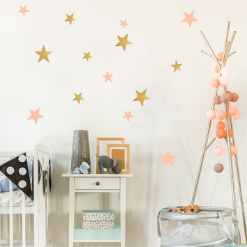 Stars Stickers - Pink & Gold