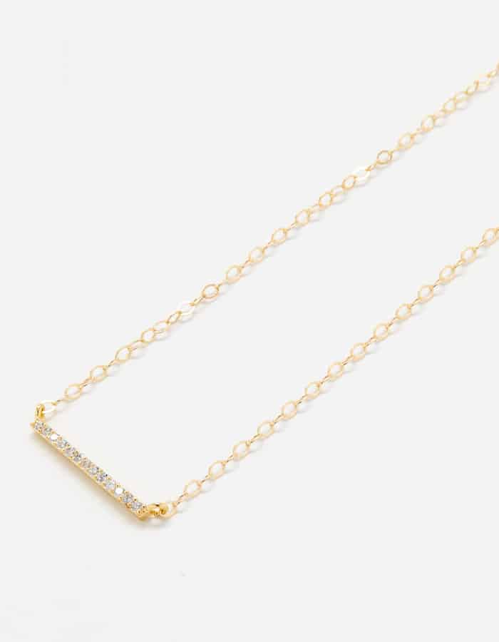 Gold Pave Bar Necklace
