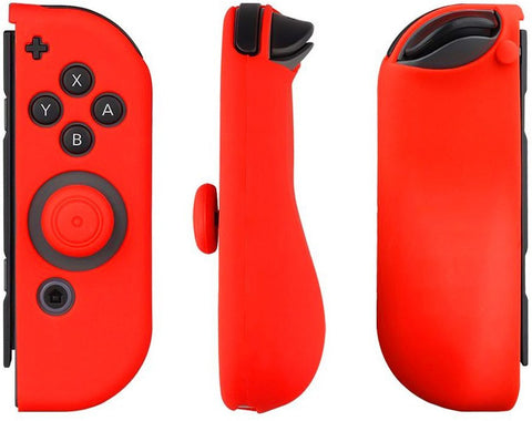 Silicone Cover Case Gel Guards for Nintendo Switch Joy-Con Controller (Red)