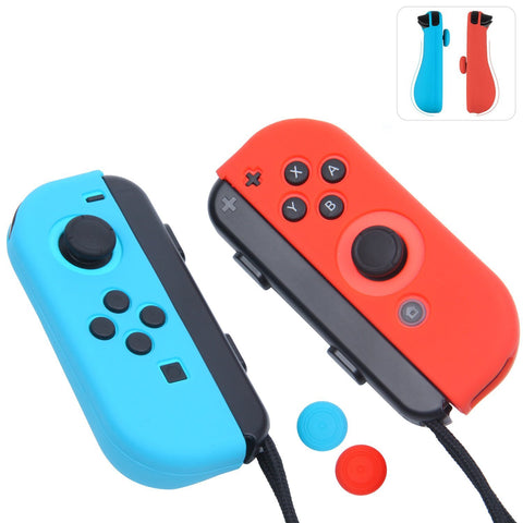 Silicone Cover Case Gel Guards for Nintendo Switch Joy-Con Controller (Blue+Red)