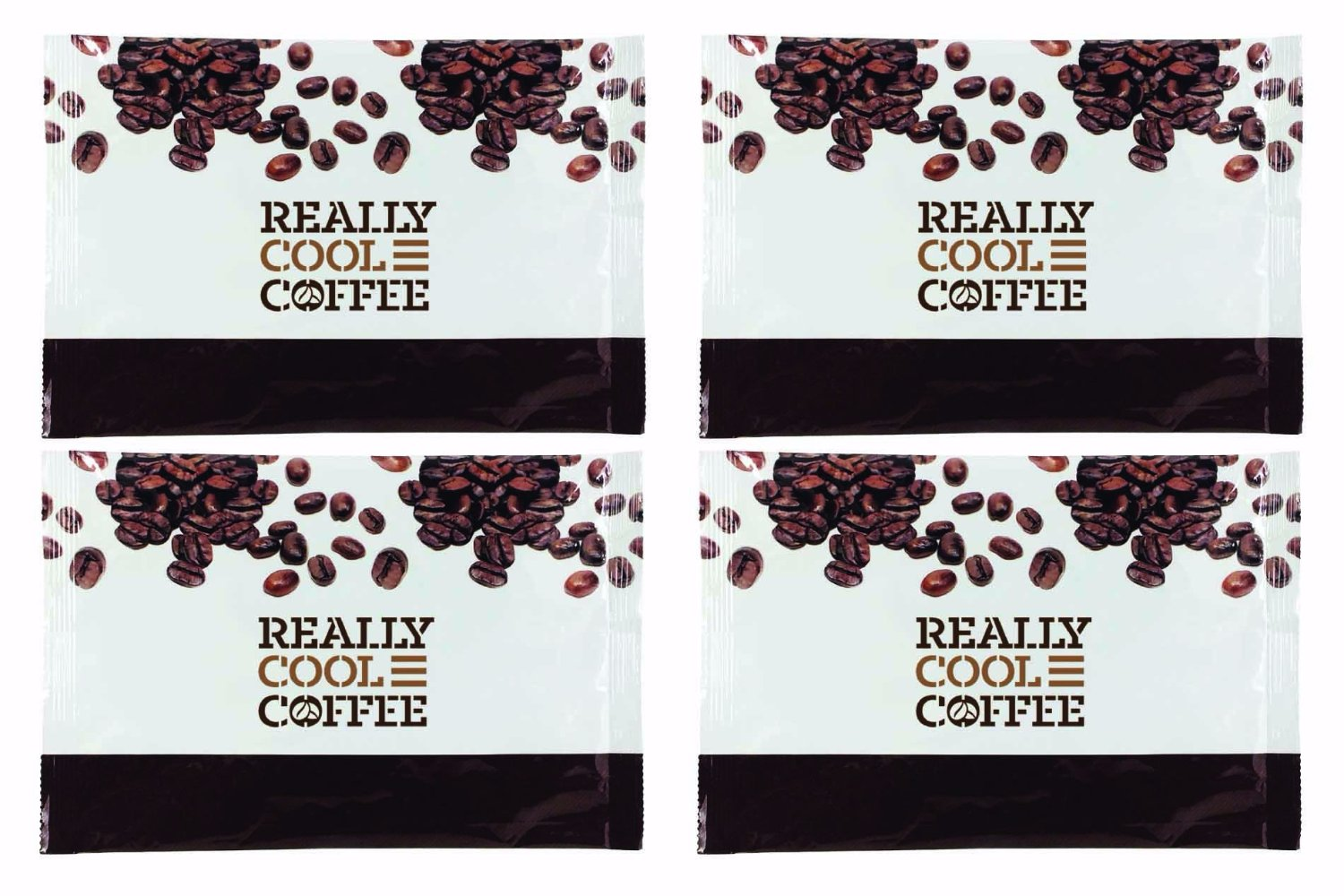 FOUR STAY FRESH FOIL POUCHES CONTAIN SIXTEEN FILTER BAGS OF REALLY COOL COFFEE