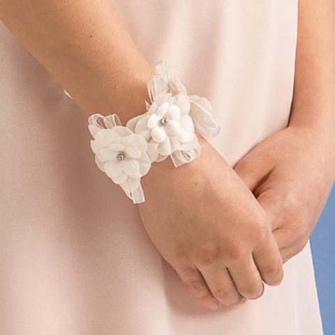 Cream Bracelet with Flowers Aletta - Peekaboo Kids