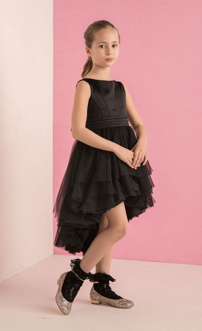 Black Dress in Satin and Plumitis Tulle Aletta - Peekaboo Kids