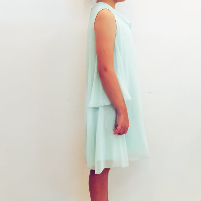 Dress in Aqua with Georgette Flounces