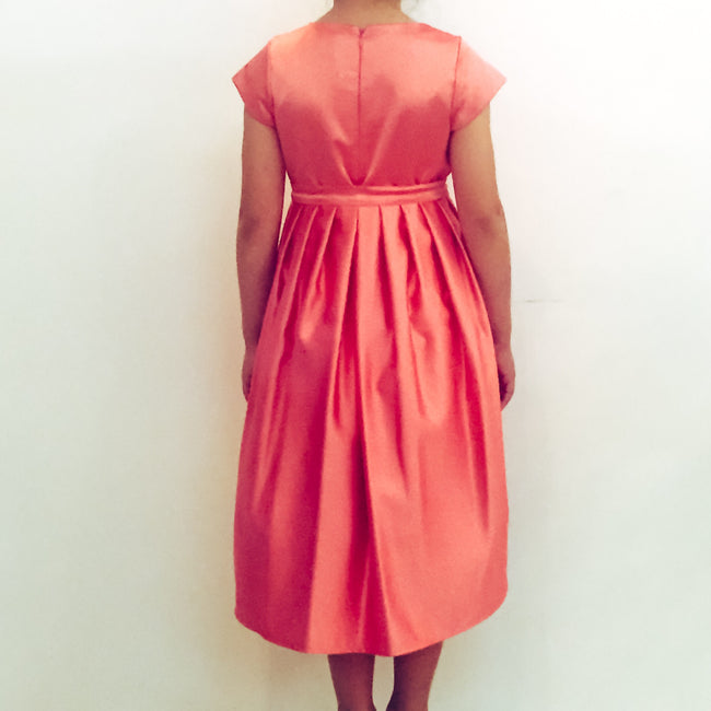 Coral Satin Dress with Removable Outer Skirt