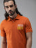 Roadster Men Orange Solid Polo Collar T-shirt With Embroidered Detail