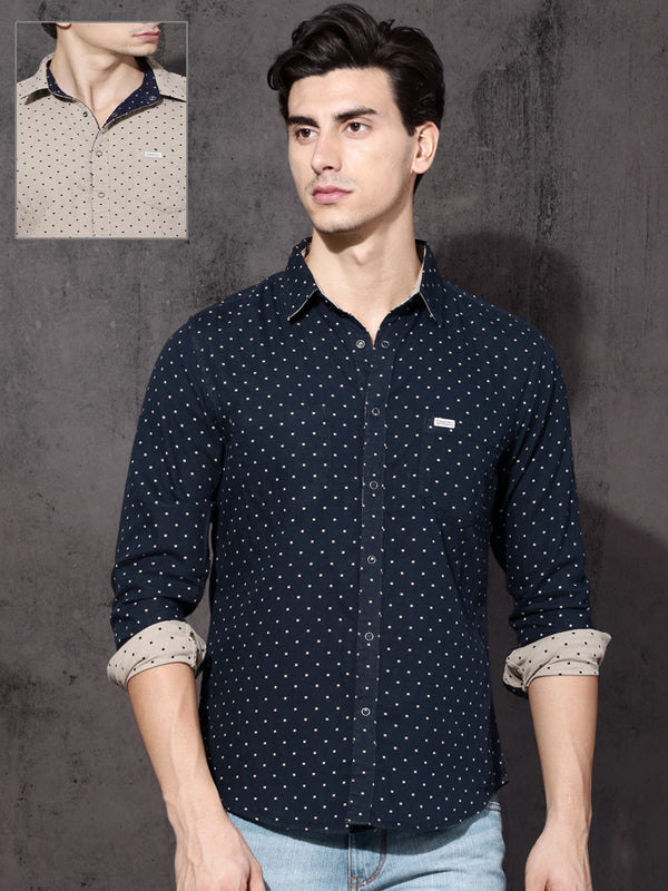 Roadster Men Navy Blue and Beige Regular Fit Reversible Printed Casual Shirt