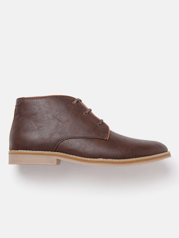 Roadster Men Brown Solid Mid-Top Flat Boots