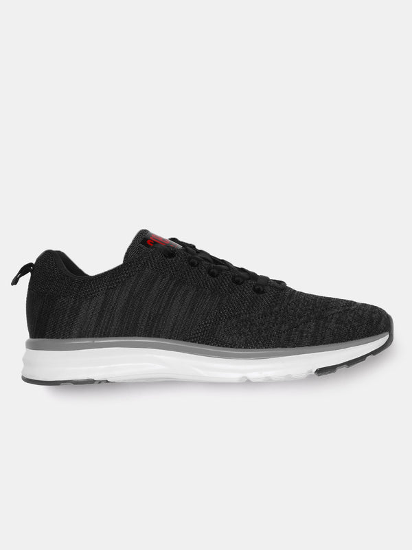 Crew STREET Men Black and Charcoal Grey Running Shoes