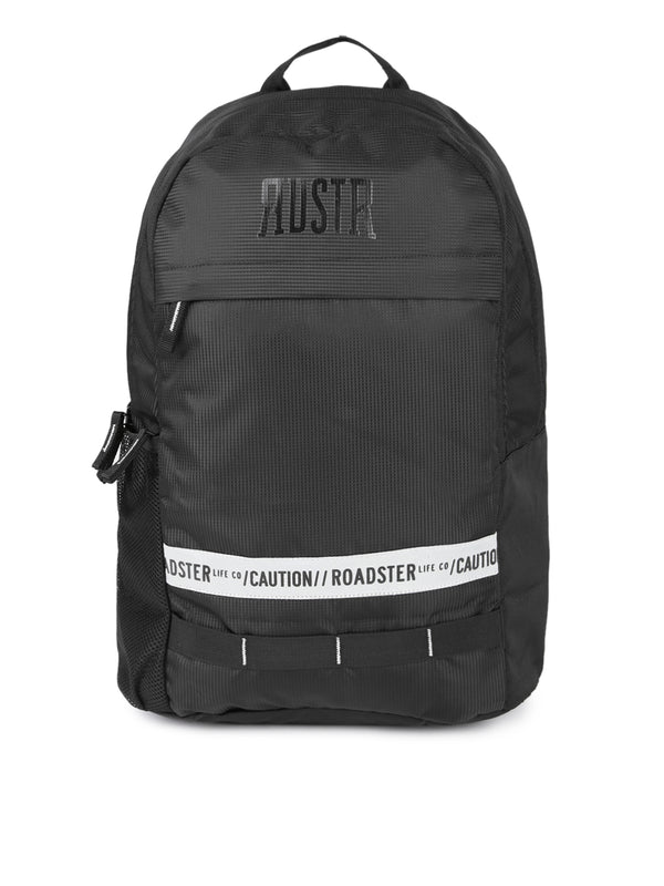 Roadster Unisex Black Printed and Textured Wind Breaker Backpack