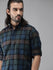 Roadster Men Olive Green and Navy Blue Regular Fit Checked Casual Shirt