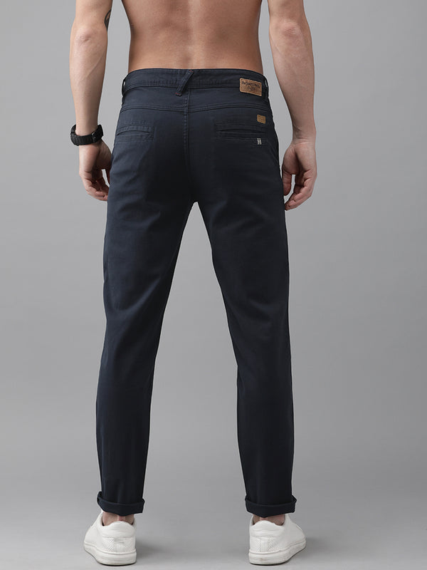 Roadster Men Navy Blue Regular Fit Solid Chinos
