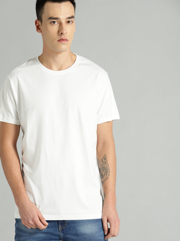 Roadster Men White Solid Round Neck T-shirt
