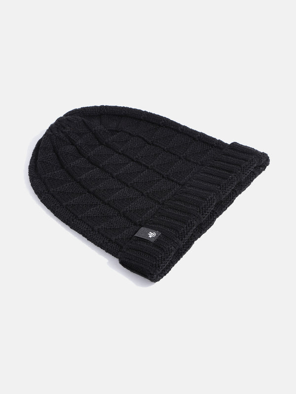 Roadster Unisex Black Self Design Beanie