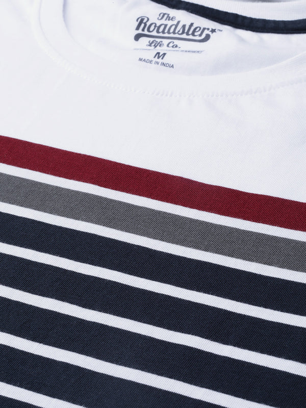 Roadster Men Navy Blue and White Striped Round Neck T-shirt