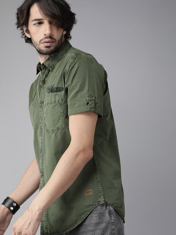 Roadster Men Olive Green Regular Fit Solid Casual Shirt with Applique Detail
