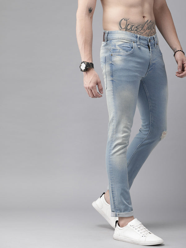Roadster Men GreenTurn Blue Skinny Fit Mid-Rise Low Distress Save Water Stretchable Jeans